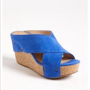 NWT Splendid Gravity Blue Suede Platform Sandals